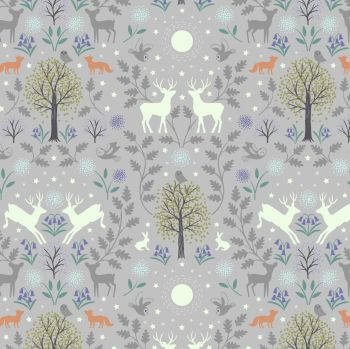 Lewis & Irene - Mirrored Woodland on Grey (with glow in the dark detailing, per fat quarter