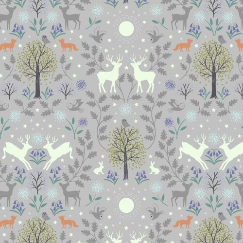 <!--4404-->Lewis & Irene - Mirrored Woodland on Grey (with glow in the dark