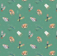 <!--4409-->Lewis & Irene - Small Things Crafts - Painting on green, per fat quarter