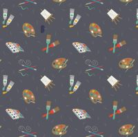 <!--4410-->Lewis & Irene - Small Things Crafts - Painting on Grey, per fat quarter