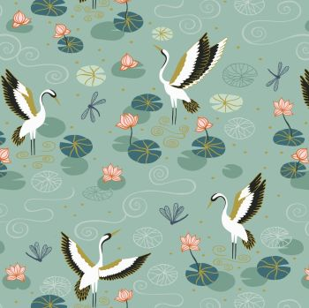 Lewis & Irene - Jardin de Lis - Duck Egg Heron Lake (with gold metallic detailing), per fat quarter