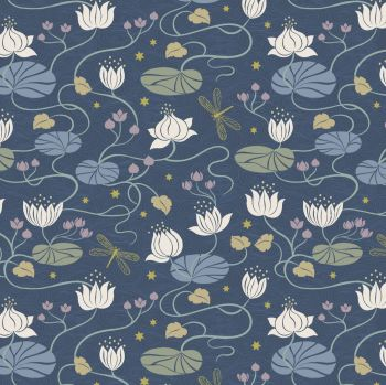 Lewis & Irene - Jardin de Lis - Lillies on dark Blue (with gold metallic detailing), per fat quarter