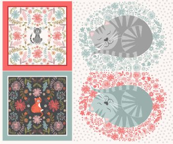 Lewis & Irene - Purrfect Petals -  Cat XL Cushion Panel, per panel