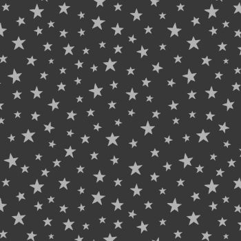 Lewis & Irene - Marvellous Metallics - Silver Star on Black (with silver metallic detailing), per fat quarter