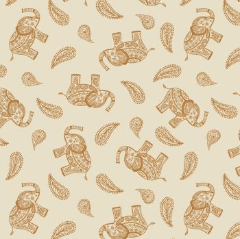 Lewis & Irene - Soraya - Paisley Elephant on Cream, per fat quarter