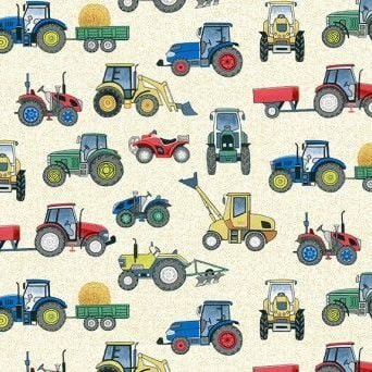 Makower UK - Village Life - Tractors on Cream, per fat quarter
