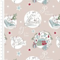 <!--9001-->The Craft Cotton Company - A Christmas Tail on Latte, per fat quarter