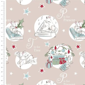 The Craft Cotton Company - A Christmas Tail on Latte, per fat quarter