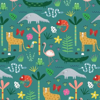 Dashwood Studios - Habitat - Rainforest Life on Darkest Jade, per fat quarter
