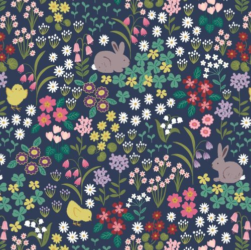 <!--4441-->Lewis & Irene - Bunny Hop - Bunny & Chick Floral on Dark Blue, p