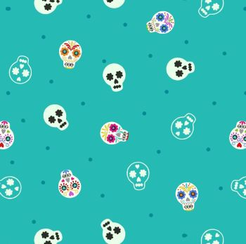 Lewis & Irene - Small Things Glow - Sugar Skulls on Turquoise (with glow in the dark detailing), per fat quarter