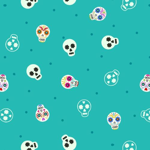 <!--4443-->Lewis & Irene - Small Things Glow - Sugar Skulls on Turquoise (w