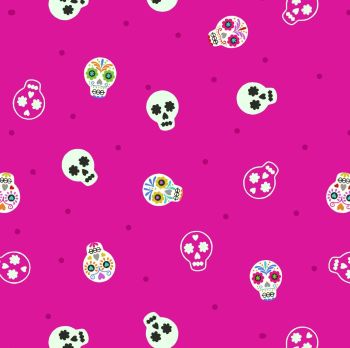 Lewis & Irene - Small Things Glow - Sugar Skulls on Bright Pink (with glow in the dark detailing), per fat quarter