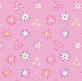 Lewis & Irene - Small Things Glow - Fireworks on Pink (with glow in the dark detailing), per fat quarter