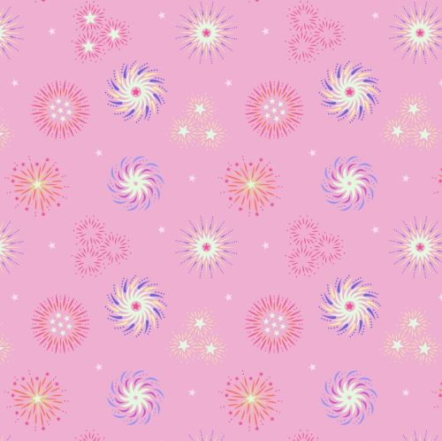 <!--4445-->Lewis & Irene - Small Things Glow - Fireworks on Pink (with glow