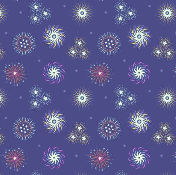 Lewis & Irene - Small Things Glow - Fireworks on Indigo (with glow in the dark detailing), per fat quarter