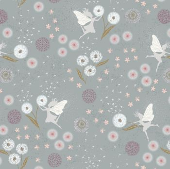 Lewis & Irene - Fairy Clocks - Fairy Clocks on Grey/Blue (with silver metallic detailing), per fat quarter