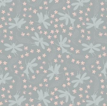 Lewis & Irene - Fairy Clocks - Light Grey Floral Fairies (with silver metallic detailing), per fat quarter
