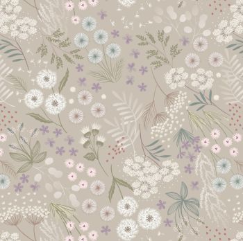 Lewis & Irene - Fairy Clocks - Cream Linen Fairy Plants, per fat quarter
