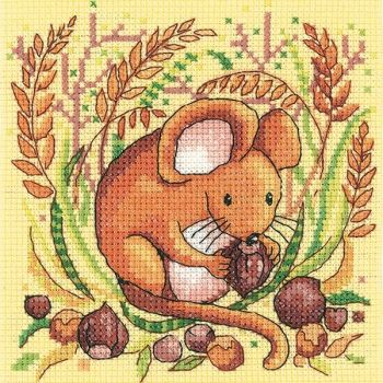 Heritage Crafts Cross Stitch Kit by Karen Carter - Woodland Creatures - Mouse