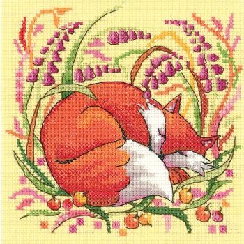 Heritage Crafts Cross Stitch Kit by Karen Carter - Woodland Creatures - Fox