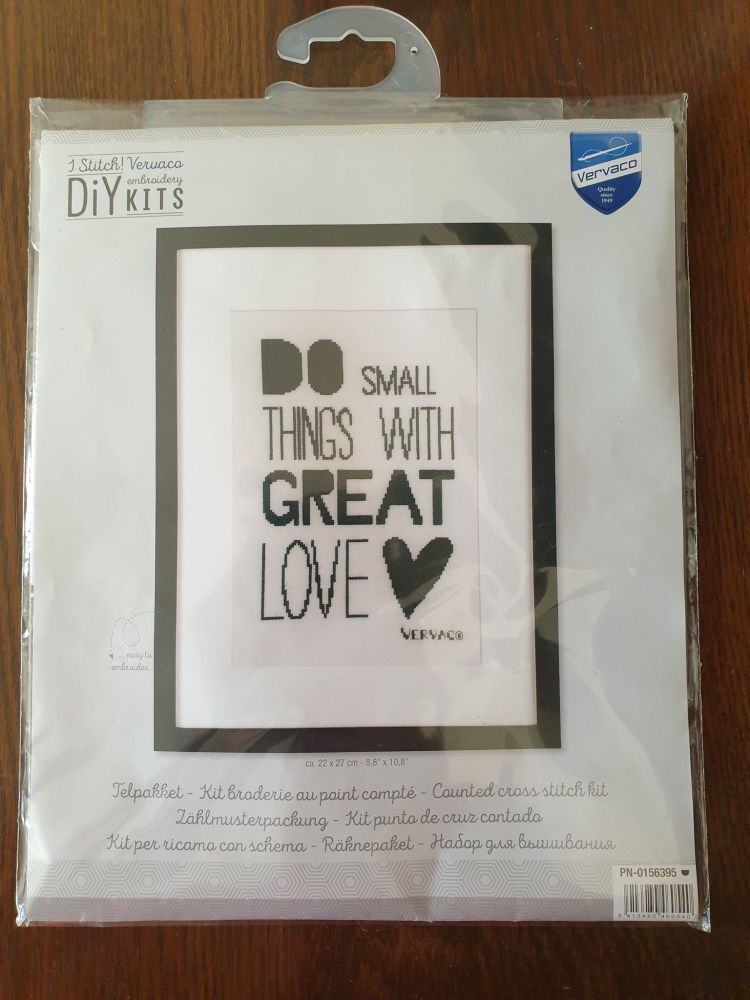 <!--9909 -->Vervaco Cross Stitch Kit - Do Small Things With Great Love