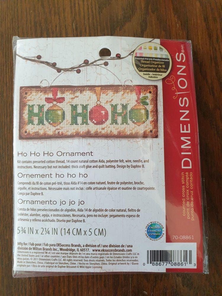 <!--9990 -->Dimensions Cross Stitch - Ho Ho Ho Hanging Ornament