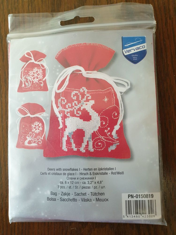 <!--9992 -->Vervaco Cross Stitch - XS Gift Bags x 3 - Deers with Snowflake