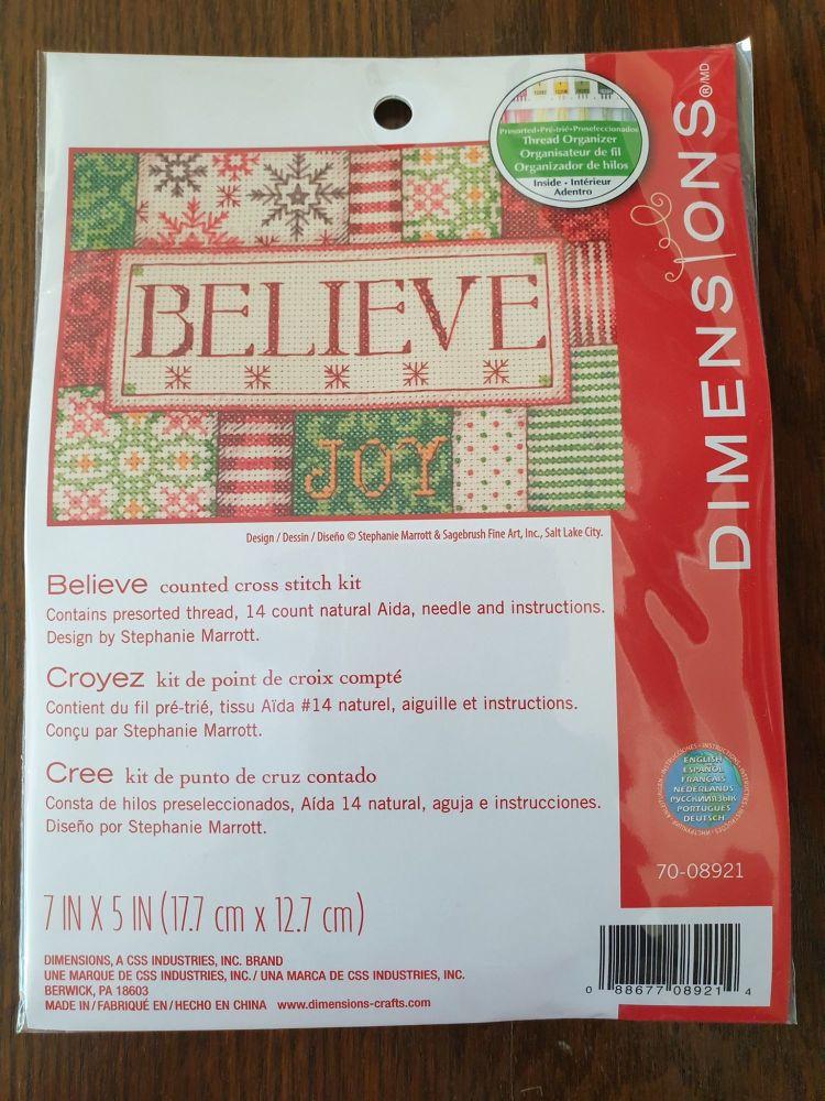 <!--9998 -->Dimensions Cross Stitch - Believe