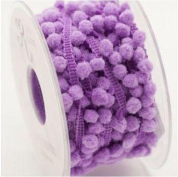 Mini Pom Pom Trim 9-12mm - Lilac, per metre