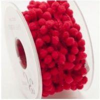 <!-- 290h -->Mini Pom Pom Trim 9-12mm - Red, per metre