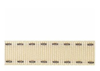 Berifords Stitched Grosgrain Ribbon (1339) 15mm - Silver Grey on Ivory 15, per metre