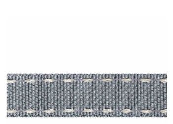 Berifords Stitched Grosgrain Ribbon (1339) 15mm - Ivory on Silver Grey 16, per metre
