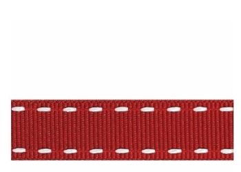 Berifords Stitched Grosgrain Ribbon (1339) 15mm - White on Red 2, per metre