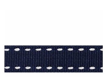 Berifords Stitched Grosgrain Ribbon (1339) 15mm - White on Navy 7, per metre