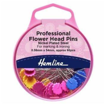 Hemline Flower/Flat Head Pins - 0.58 x 54mm: