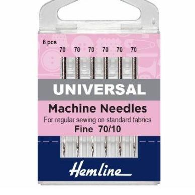 <!--   010 -->Hemline Sewing Machine Needles - Universal - Fine 70/10