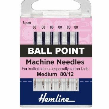 Hemline Sewing Machine Needles - Ball Point - Medium 80/12