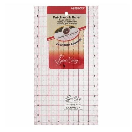<!--   046-->Sew Easy - Acrylic Patchwork/Quilting Ruler - 12 x 6.5in