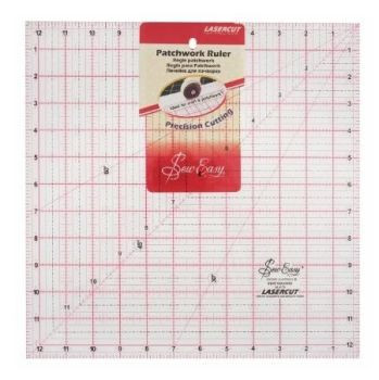 Sew Easy - Acrylic Patchwork/Quilting Ruler - Square - 12.5in x 12.5in