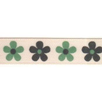 Berifords Daisy Ribbon (13700) 15mm - Green and Black 3, per metre