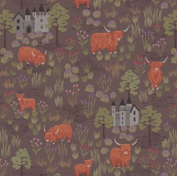 Lewis & Irene - Loch Lewis - Castles and Highland Cattle on Mocha, per fat quarter