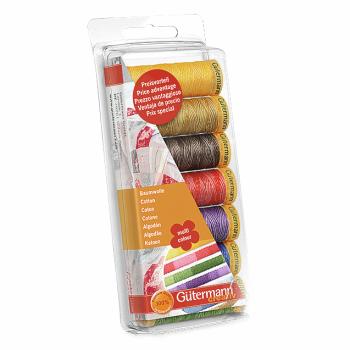 Gutermann 100% Cotton Thread Set 7 x 100m Reel - Set No 50 - Assorted Colours