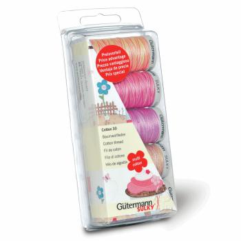 Gutermann 100% Cotton Thread Set 5 x 300m Reel - Set No 30 - Pinks/Purples