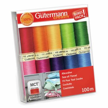 Gutermann Sew-All Thread Set 10 x 100m Reel - Assorted Brights