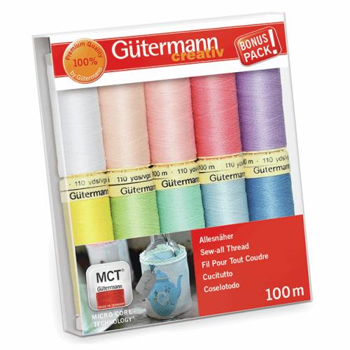 <!--  159h -->Gutermann Sew-All Thread Set 10 x 100m Reel - Assorted Lights