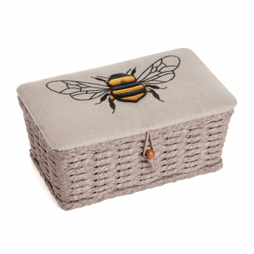 Hobby Gift - Embroidered/Applique Bees - Small Wicker Sewing Box