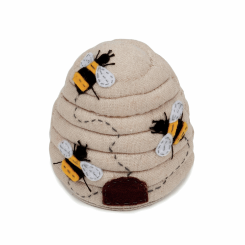 Hobby Gift - Embroidered/Applique Bees - Beehive Pin Cushion