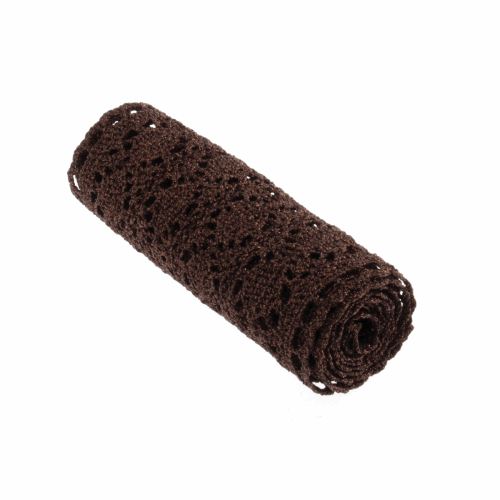<!-- 410 --> Cotton Metallic Lace Roll - Brown