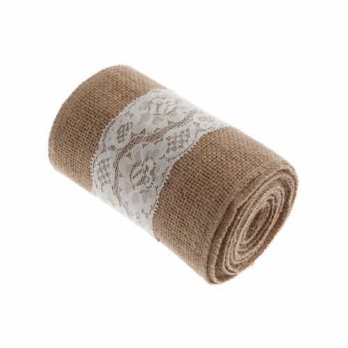 <!-- 410 --> Lace Trimmed Hessian Fabric Roll - Natural